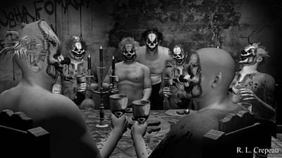 Evil Clown Banquet - Black And White Art Print