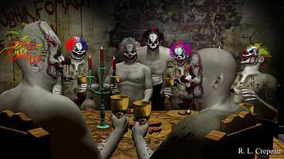 Banquet Digital Art - Evil Clown Banquet by Robert Crepeau