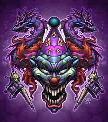 Evil Clown Print by David Bollt