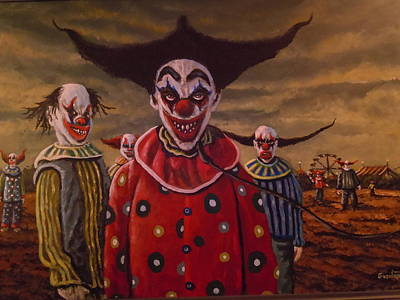 Evil Clown Painting - Evil Clown Traveling Carnival by James Guentner
