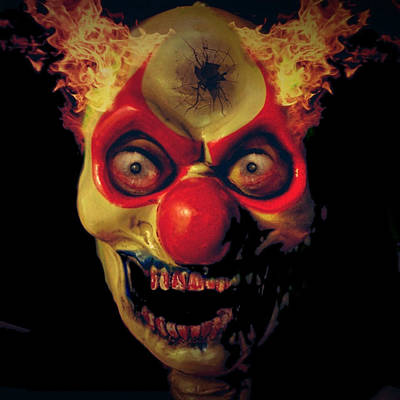 My Bed Digital Art - Evil Clown Under My Bed 4 by D Preble