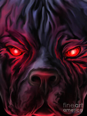 Painting - Evil Pitbull Eyes By Spano by Michael Spano