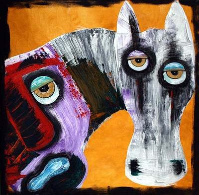 Religous Painting - Evil - The White Horse by Laura Barbosa