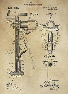 Fishing Enthusiast Photograph - Evinrude Outboard Marine Engine Patent  1910 by Daniel Hagerman