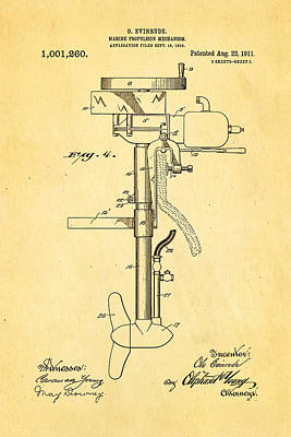 1911 Photograph - Evinrude Outboard Motor Patent Art 2  1911 by Ian Monk