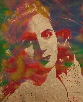 Evita Eva Peron Watercolor Portrait On Worn Distressed Canvas Art Print