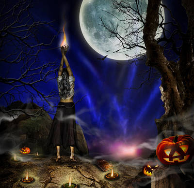 Mistery Digital Art - Evocation In Halloween Night by Alessandro Della Pietra