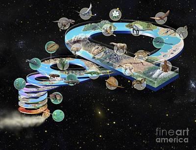 Evolution Of Life, Artwork Art Print by Jos� Antonio Pe�as