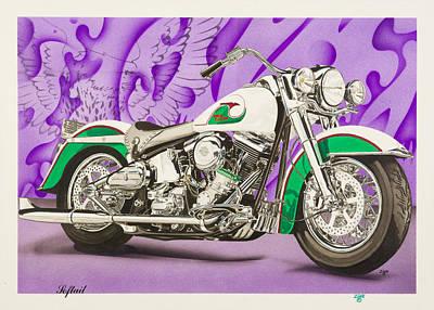 Harley Davidson Evolution Softail Art Print