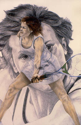Australian Open Drawing - Evonne Goolagong Cawley by Phil Welsher