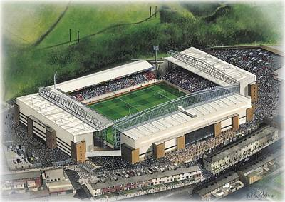 Football Paintings - Ewood Park - Blackburn Rovers by Kevin Fletcher