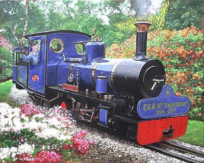 Painting - Exbury Steam Railway 10th Anniversary  by Martin Davey