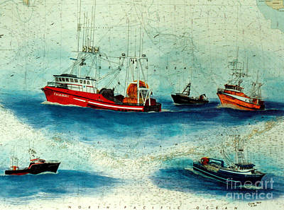 Excalibur Painting - Excalibur II Joint Venture Boats Nautical Chart Art by Cathy Peek