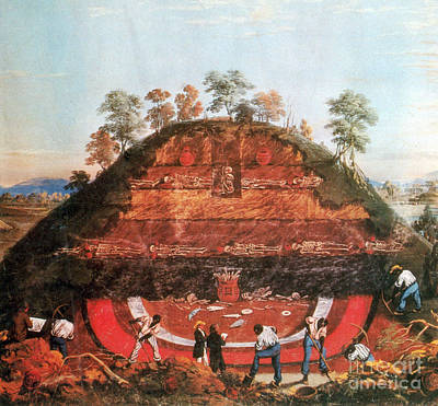 Indigenous Americans Photograph - Excavation Of Indian Mound, 1850 by Science Source