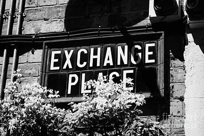 Exchange Place Photograph - exchange place old Belfast city street names in cathedral quarter Northern Ireland UK by Joe Fox