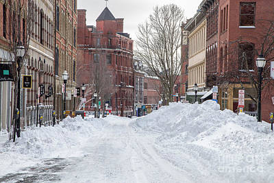 Exchange Street Historic  Snow Art Print by Benjamin Williamson