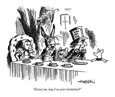 Tea Party Drawing - Excuse Me, May I See Your Invitation? by Henry Martin