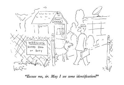 Warning Drawing - Excuse Me, Sir.  May I See Some Identification? by Arnie Levin