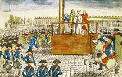 Execution Of Marie-antoinette 1755-93 In The Place De La Revolution, 16th October 1793 Coloured Art Print by French School