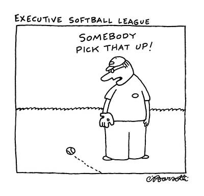 Softball Wall Art - Drawing - Executive Softball League by Charles Barsotti