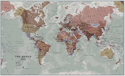 Stylish Map Digital Art - Executive World Wall Map by Maps International