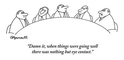 Drawing - Executives At A Round Table Do Nothing But Look by Charles Barsotti