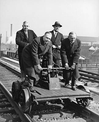 Terminal Photograph - Executives Commute By Handcar by Underwood Archives