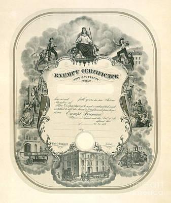 Exempt Fireman Certificate 1898 Art Print by Padre Art