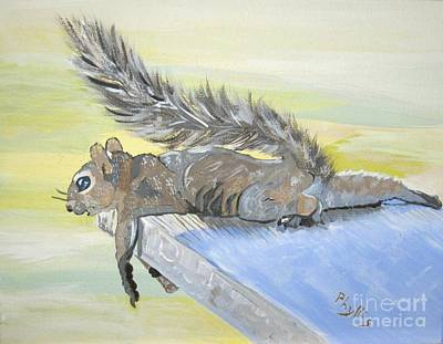 Exhausted Little Nevada Squirrel Art Print by Phyllis Kaltenbach