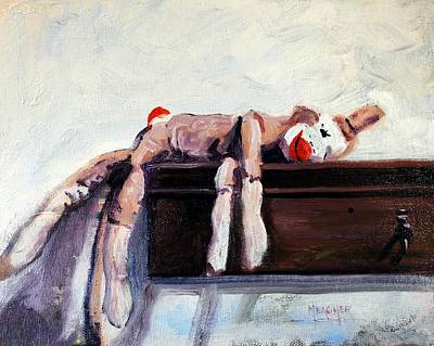 Sock Monkey Painting - Exhausted by Spencer Meagher