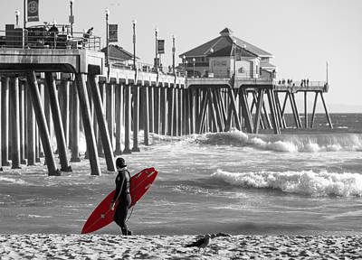 Animals Photos - Existential Surfing At Huntington Beach Selective Color by Scott Campbell