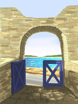 Cyclades Painting - Exit To The Sea by Veronica Minozzi