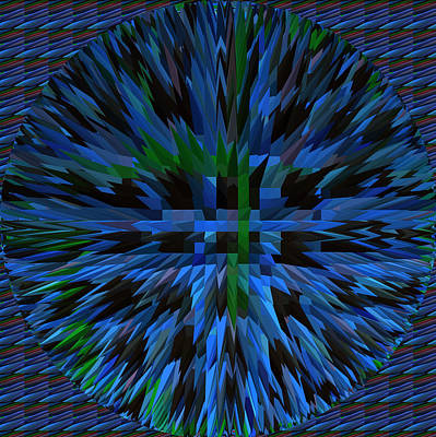 Champion Mixed Media - Exlosion Extrusion Pyramid Abstract Digital Graphic Blue Background Designs  And Color Tones N Color by Navin Joshi
