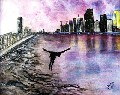Miami Skyline Painting - Exodus by Raisa O'Farrill