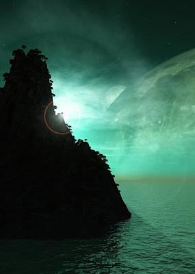 Exoplanet Landscape Art Print by Mikkel Juul Jensen