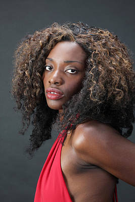 Photograph - Exotic Black Woman In A Red Drss. by John Orsbun