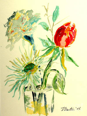 Mums Painting - Exotic Floral I by Larry Martin