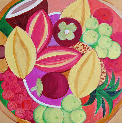 Exotic Fruit Bowl Art Print by Toni Silber-Delerive