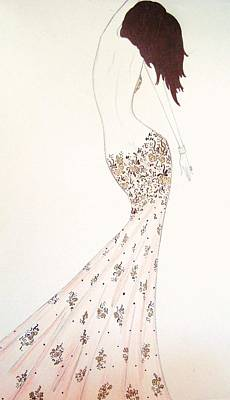 Drawing - Exotic Lilies Gown by Christine Corretti