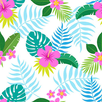 Digital Art - Exotic Seamless Colorful Pattern With by Ekaterina Bedoeva