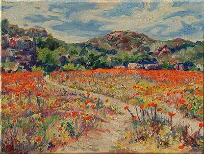 Art Print featuring the painting Expanse Of Orange Desert Flowers With Hills by Thomas Bertram POOLE