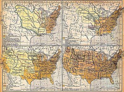 Drawing - Expansion Of United States Territory by Pg Reproductions