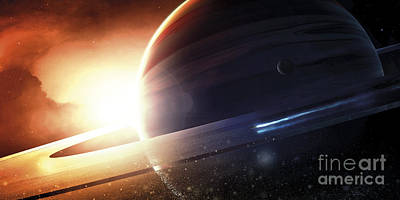 Planetary System Digital Art - Expedition To A Saturn-like Planet by Tobias Roetsch