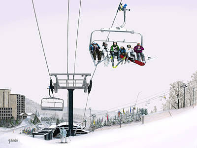 Snowscape Painting - Experience Seven Springs by Albert Puskaric