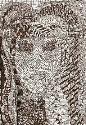 Sepia Ink Drawing - Experienced by Denise Dupree