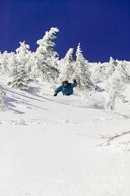 Photograph - Expert Skier Skiing Powder Stowe Vermont Usa by Don Landwehrle