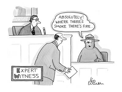 Cartoon Characters Drawing - 'expert Witness' by Leo Cullum