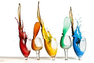 Highspeed Photograph - Exploding Glasses Of Paint 1 by Guy Viner