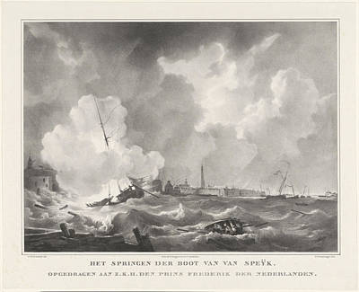 Row Boat Drawing - Exploding Of The Boat Of Jan Van Speyk, 1831 by Gijsbertus Craeyvanger And Desguerrois & Co.