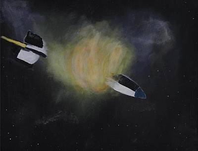 V2 Rocket Painting - Exploding Rocket Position 1 by Carl S Kralich